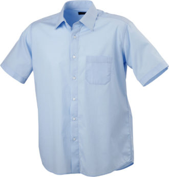 Mens Shirt Classic Fit Short James & Nicholson - light blue
