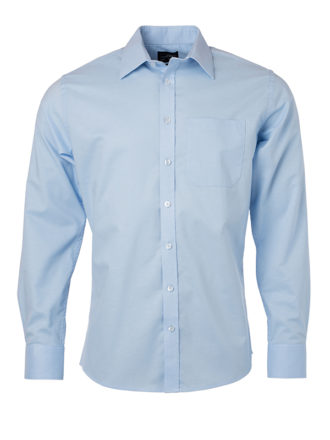 Mens Shirt Longsleeve Oxford James & Nicholson - light blue