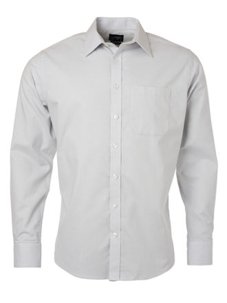 Mens Shirt Longsleeve Oxford James & Nicholson - silver