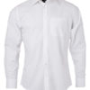 Mens Shirt Longsleeve Oxford James & Nicholson - white