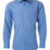 Mens Shirt Longsleeve Poplin James & Nicholson - aqua
