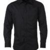 Mens Shirt Longsleeve Poplin James & Nicholson - black