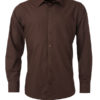 Mens Shirt Longsleeve Poplin James & Nicholson - brown
