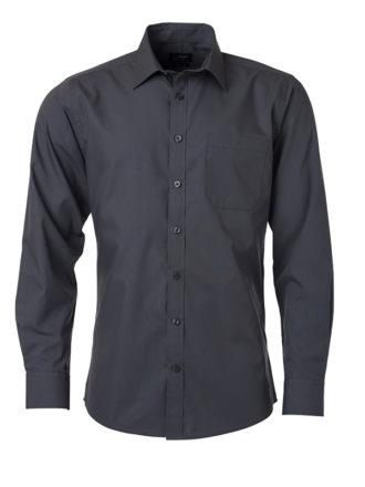 Mens Shirt Longsleeve Poplin James & Nicholson - carbon