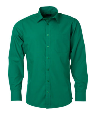Mens Shirt Longsleeve Poplin James & Nicholson - irish green