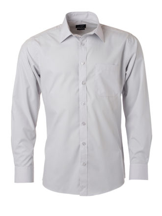 Mens Shirt Longsleeve Poplin James & Nicholson - light grey