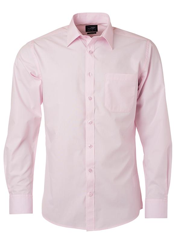 Mens Shirt Longsleeve Poplin James & Nicholson - light pink
