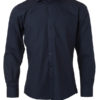 Mens Shirt Longsleeve Poplin James & Nicholson - navy