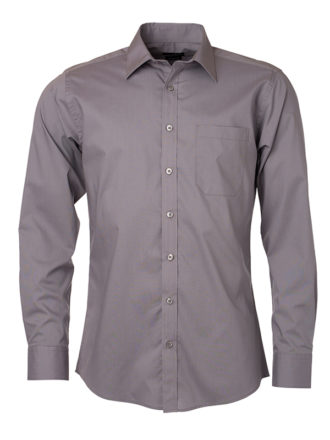 Mens Shirt Longsleeve Poplin James & Nicholson - steel grey