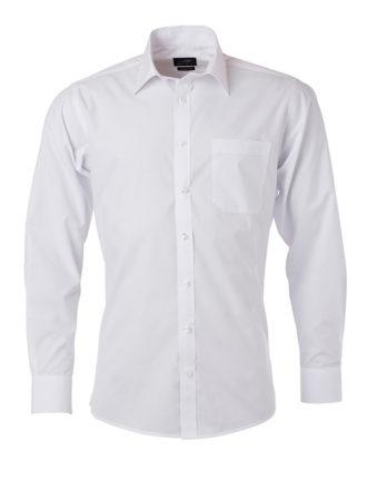 Mens Shirt Longsleeve Poplin James & Nicholson - white