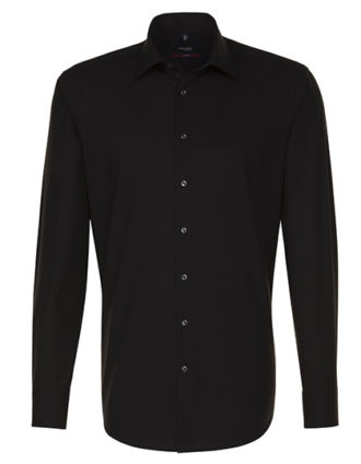 Mens Shirt Modern Fit Longsleeve Seidensticker - black