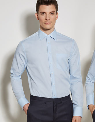 Mens Shirt Modern Fit Longsleeve Seidensticker - light blue