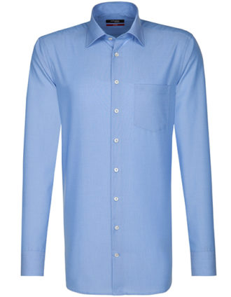 Mens Shirt Modern Fit Longsleeve Seidensticker - midblue