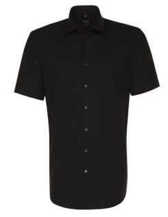 Mens Shirt Modern Fit Shortsleeve Seidensticker - black