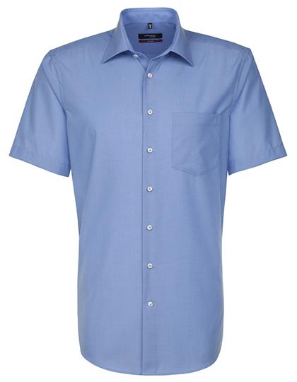 Mens Shirt Modern Fit Shortsleeve Seidensticker - midblue