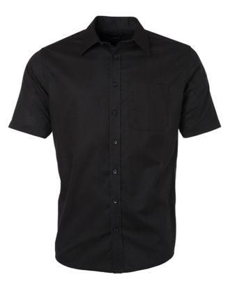Mens Shirt Shortsleeve Oxford James & Nicholson - black