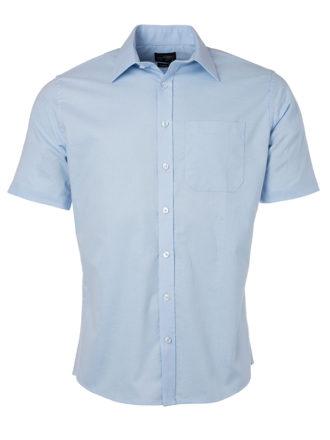 Mens Shirt Shortsleeve Oxford James & Nicholson - light blue