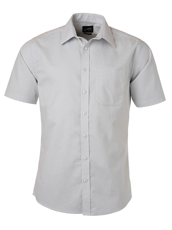 Mens Shirt Shortsleeve Oxford James & Nicholson - silver