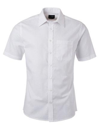 Mens Shirt Shortsleeve Oxford James & Nicholson - white