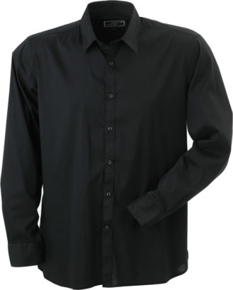 Mens Shirt Slim Fit Long James & Nicholson - black