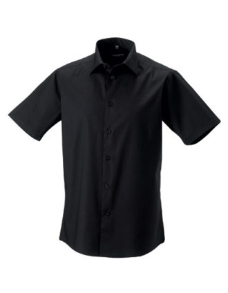 Mens Short Sleeve Fitted Shirt Russel - black