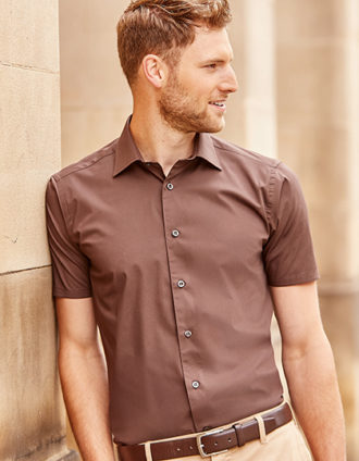 Mens Short Sleeve Fitted Shirt Russel - chocolate brown