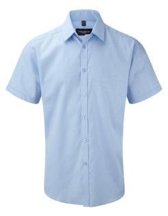 Mens Short Sleeve Herringbone Shirt Russel - light blue