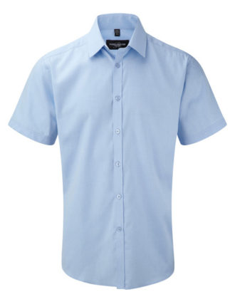 Mens Short Sleeve Herringbone Shirt Russel - light blue