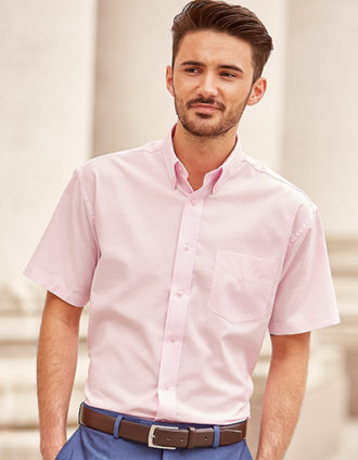 Mens Short Sleeve Oxford Shirt Russel - classic pink