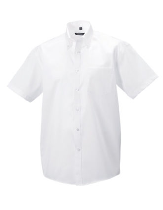 Mens Short Sleeve Ultimate Non Iron Shirt Russell - white