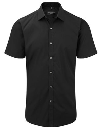 Mens Short Sleeve Ultimate Stretch Shirt Russel - black