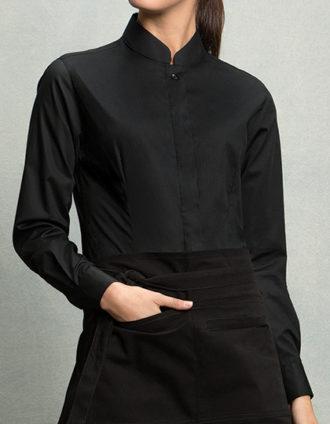 Womens Bar Shirt Mandarin Collar Long Sleeve Bargear - black