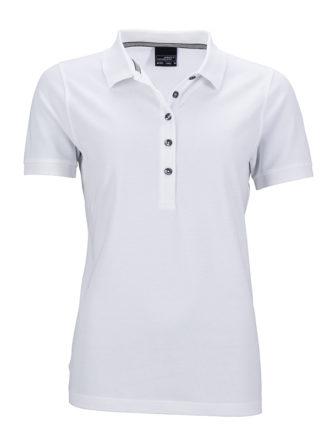 Ladies Pima Polo James & Nicholson - white