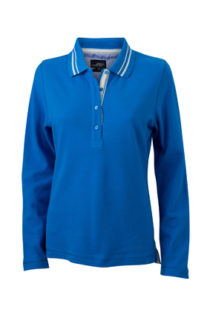 Ladies Polo Long Sleeved James & Nicholson - cobalt