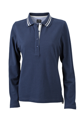 Ladies Polo Long Sleeved James & Nicholson - navy