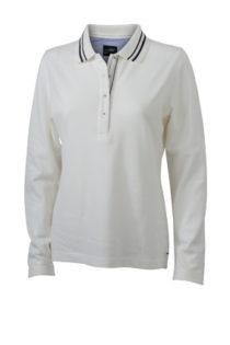 Ladies Polo Long Sleeved James & Nicholson - off white