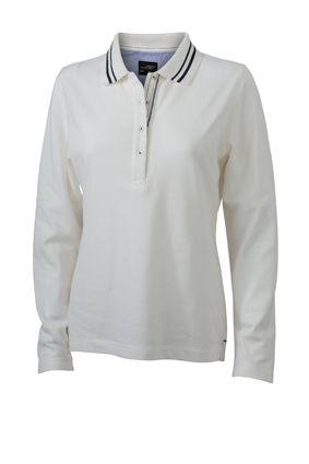 Ladies Polo Long Sleeved James & Nicholson - off white