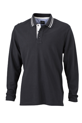 Mens Polo Long Sleeved James & Nicholson - black