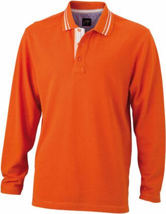 Mens Polo Long Sleeved James & Nicholson - dark orange