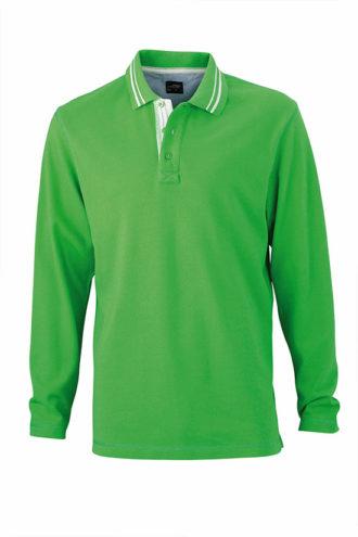 Mens Polo Long Sleeved James & Nicholson - green