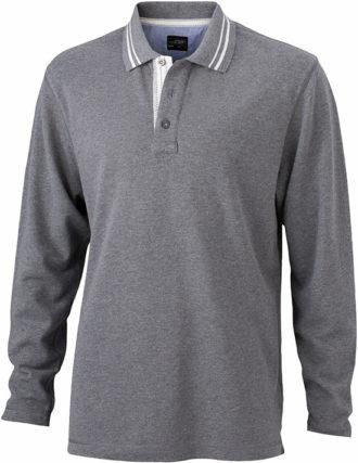 Mens Polo Long Sleeved James & Nicholson - grey melange