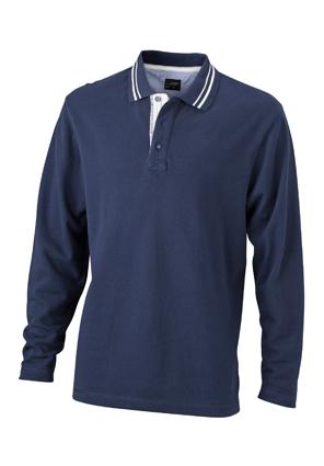 Mens Polo Long Sleeved James & Nicholson - navy