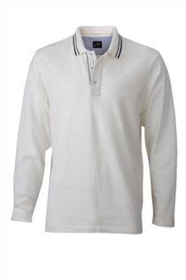 Mens Polo Long Sleeved James & Nicholson - off white