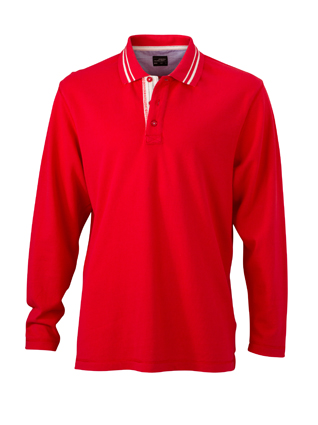 Mens Polo Long Sleeved James & Nicholson - red