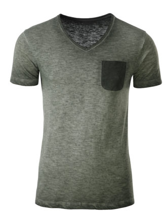 Mens Slub T James & Nicholson - dusty olive