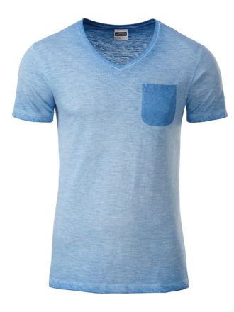 Mens Slub T James & Nicholson - horizon blue
