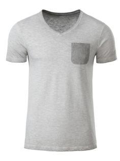 Mens Slub T James & Nicholson - light grey