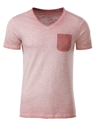 Mens Slub T James & Nicholson - soft pink