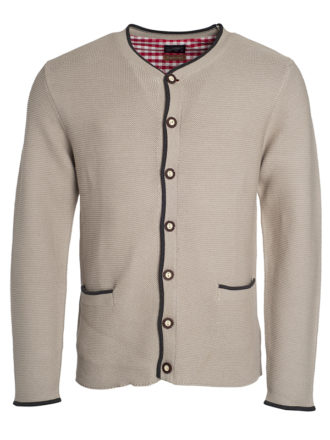 Mens Traditional Knitted Jacket James & Nicholson - beige anthracite melange red