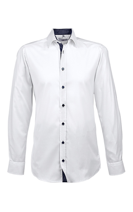 Greiff Modern 37 5 Herren Regular Fit Hemd - weiß kontrast blau